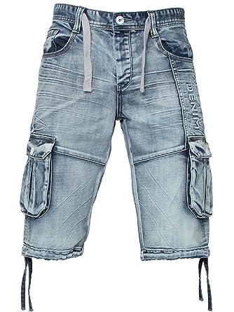 9eff19d48b ETO Men's Designer Light Blue Acid Wash Casual Combat Cargo Denim Shorts  Jeans ...