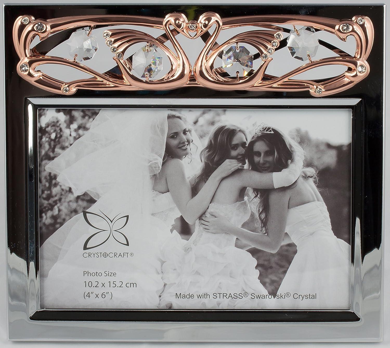 Bilderrahmen mit Hochzeitsschwänen rosegold & chrome überzogen Foto ...