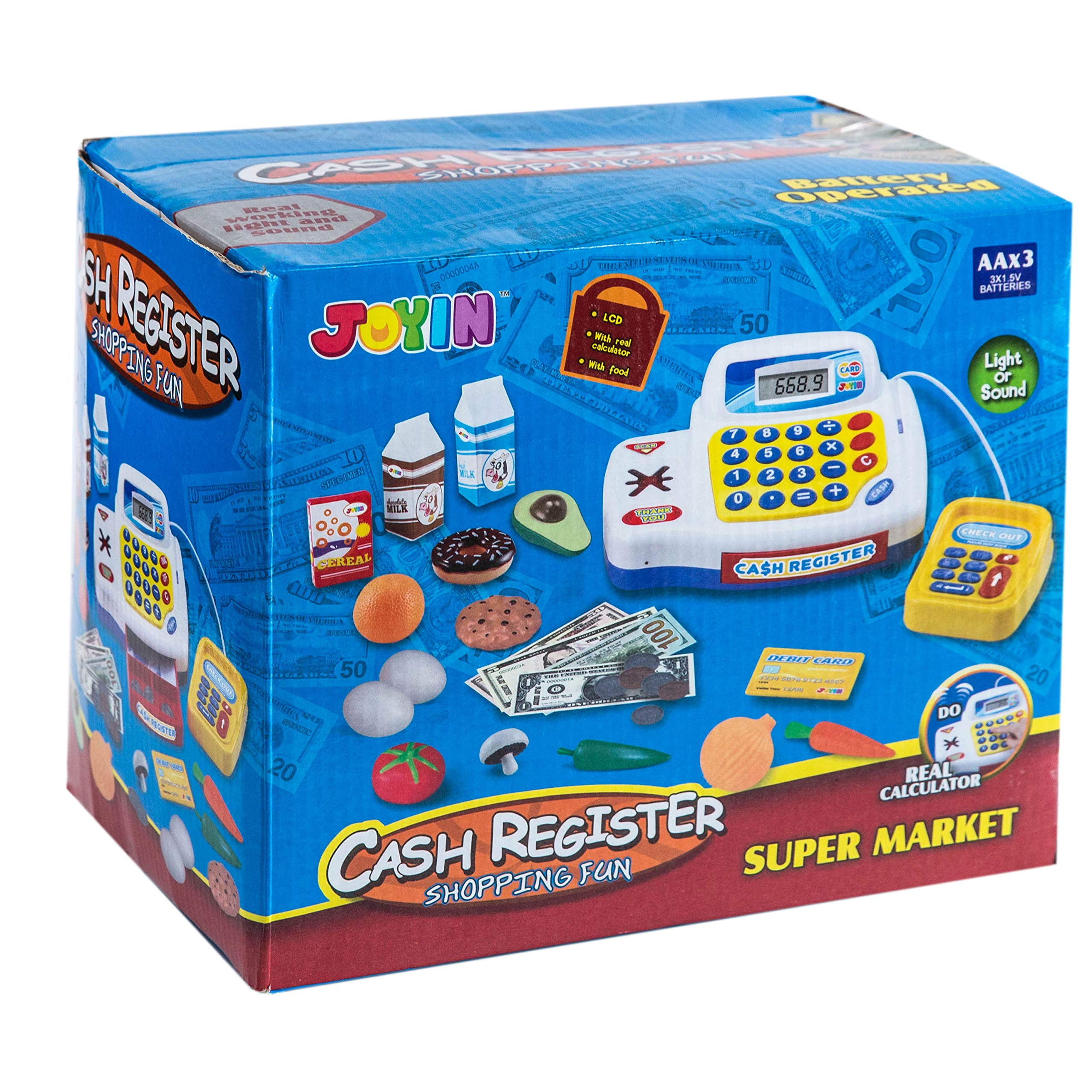 Toy Cash Register Shopping Pretend Play Money Machine with Dual Languages, Scanner, Card Reader and Grocery Play Food Set for Kids Boys and Girls Gifts, Toddler Interactive Learning, Teaching Tools. by JOYIN (Image #5)