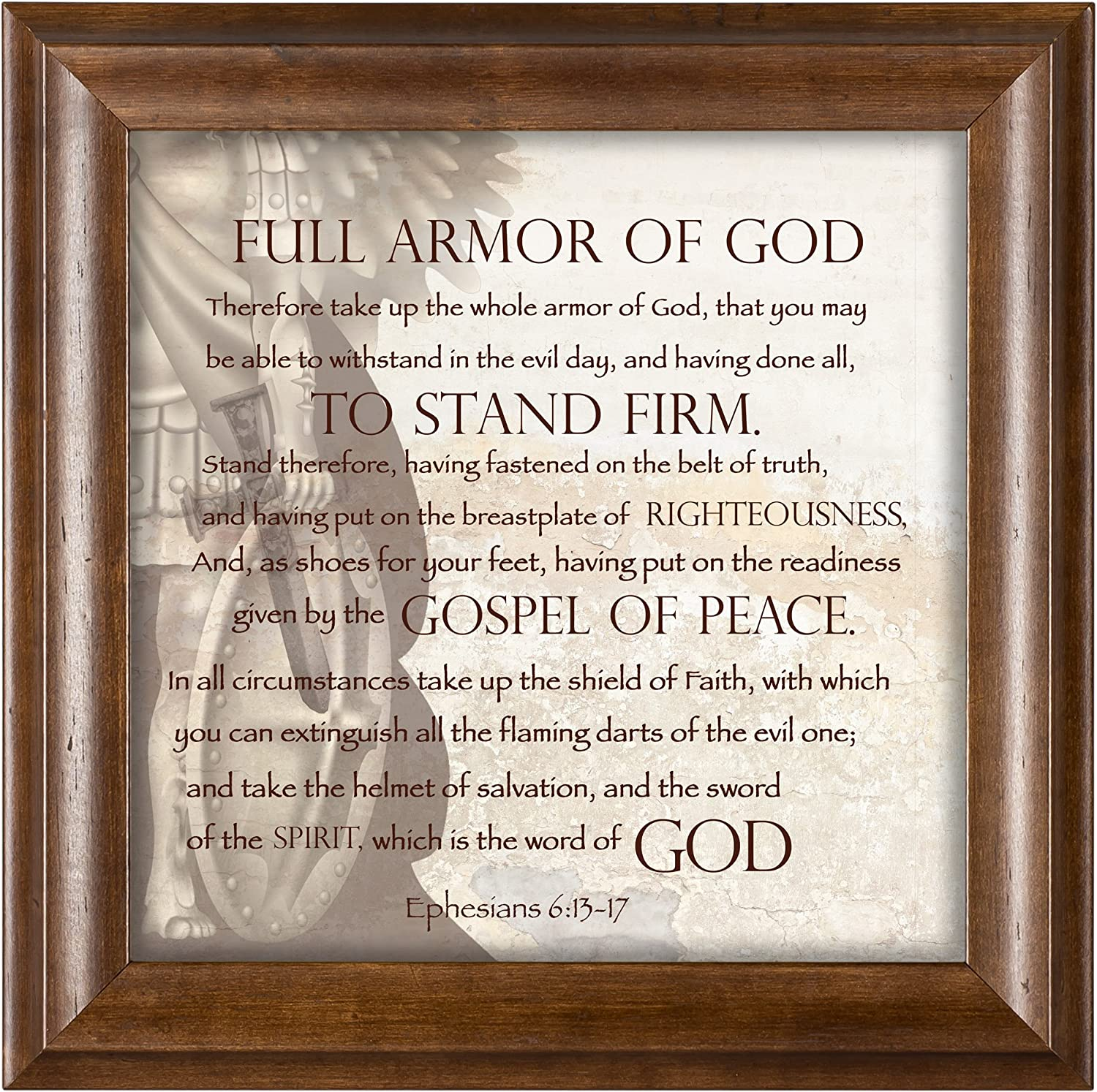 amazon com full armor of god ephesians 6 13 17 verona mocha wood