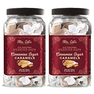 Mrs. Call's All Natural Handcrafted Gourmet Cinnamon Sugar Caramel: Kettle Cooked, Creamy, Soft & Individually Wrapped - Two Pack x 20 Ounces Each