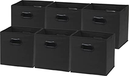 6 Pack   SimpleHouseware Foldable Cube Storage Bin With Handle, Black (12  Inch