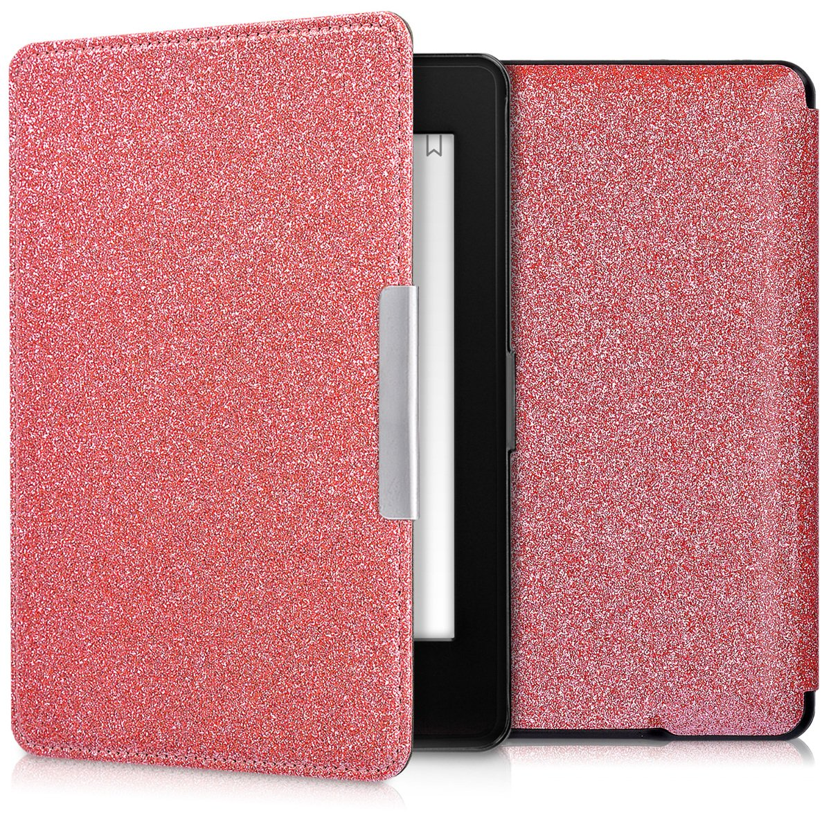 kwmobile Cover for Amazon Kindle Paperwhite - flip cover case eReader protective case in plastic - flip case eReader bookstyle Design Glitter uniform light pink