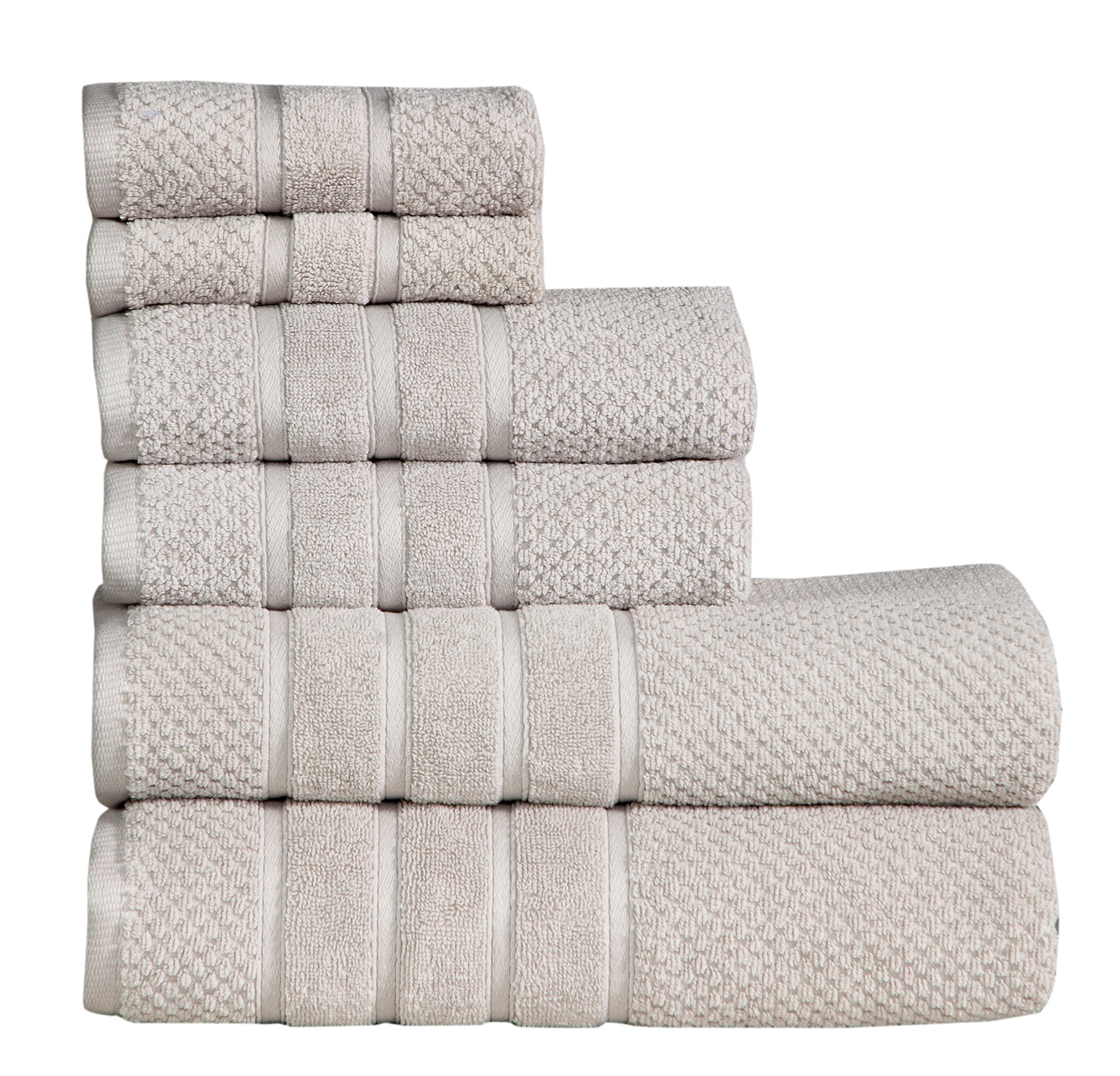 Feather & Stitch Fade-Resistant 100% Cotton 6-Piece Towel Set, Hotel Quality, Super Soft and Highly Absorbent (Vapon, 6 Pack Set)