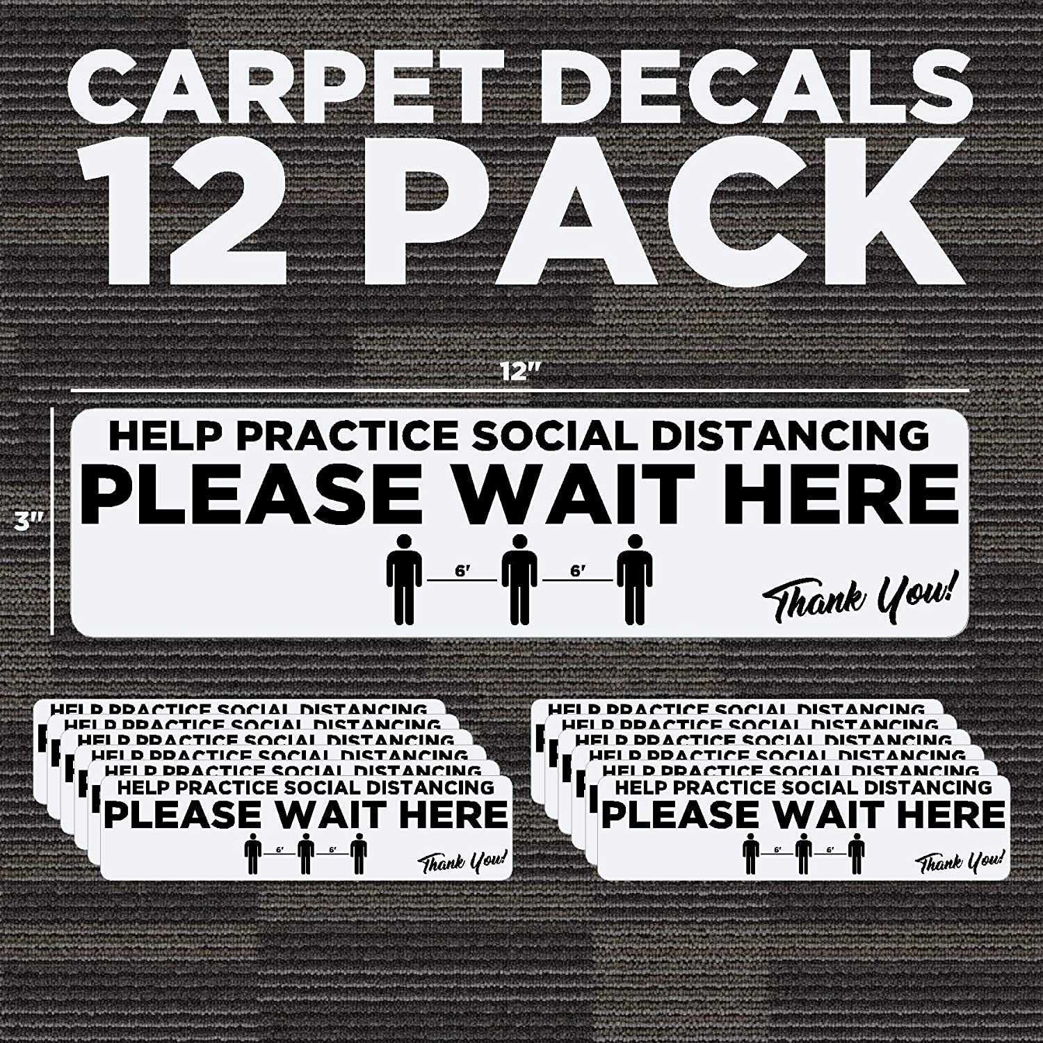 Made in The U.S.A. 6ft Distance Markers Removable Carpet Decals for Social Distancing 3x12 Pack of 12