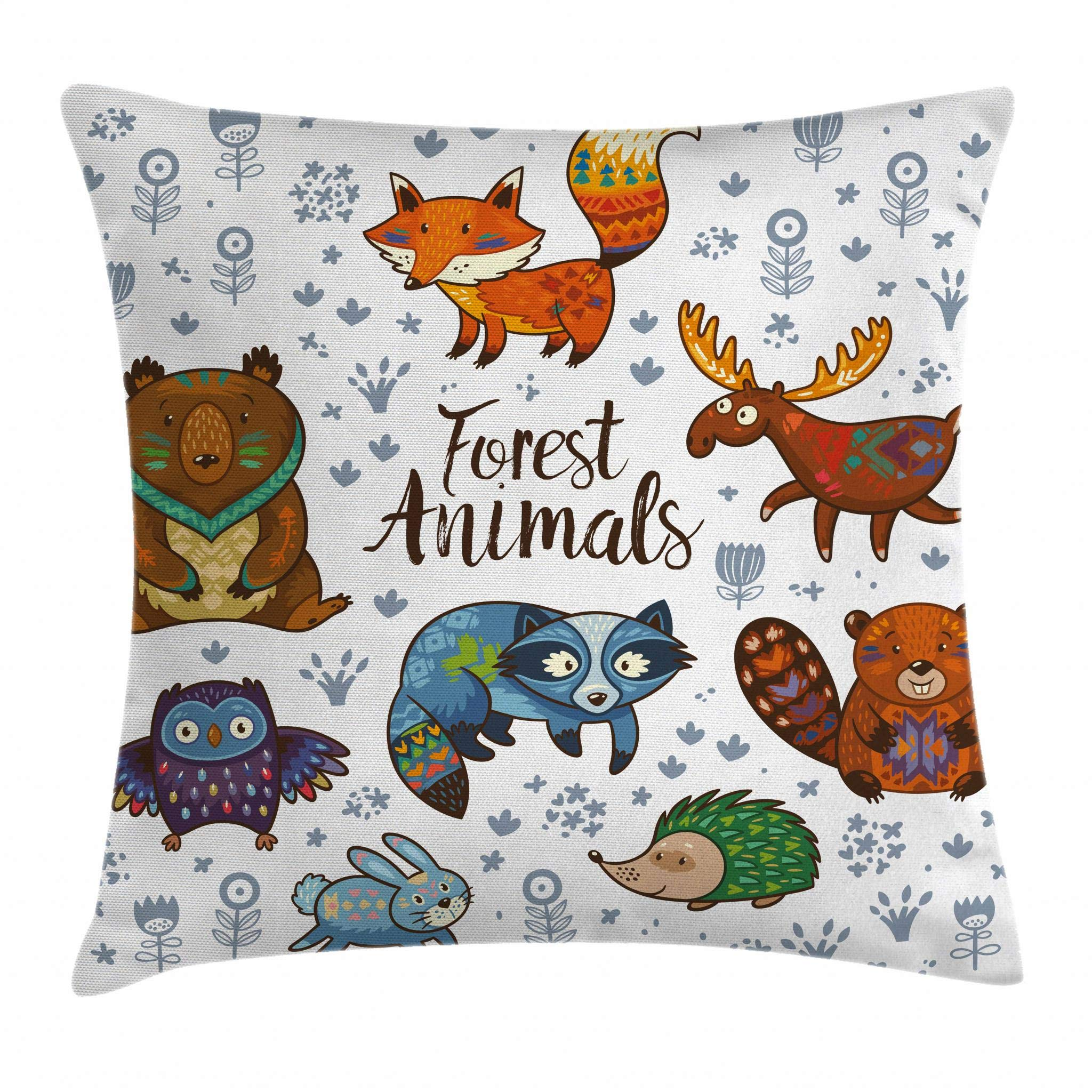 Ambesonne Cabin Decor Throw Pillow Cushion Cover by, Set of Cute Woodland Animals Tribal Nature Elements Kids Room Nursery Wall Art, Decorative Square Accent Pillow Case, 18 X 18 Inches, Multicolor