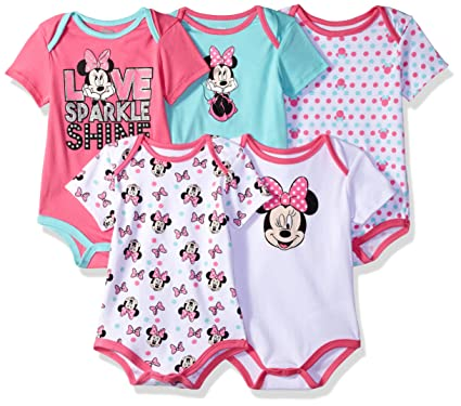 fb9d746f487 Amazon.com  Disney Baby Minnie Mouse 5 Pack Bodysuits  Clothing