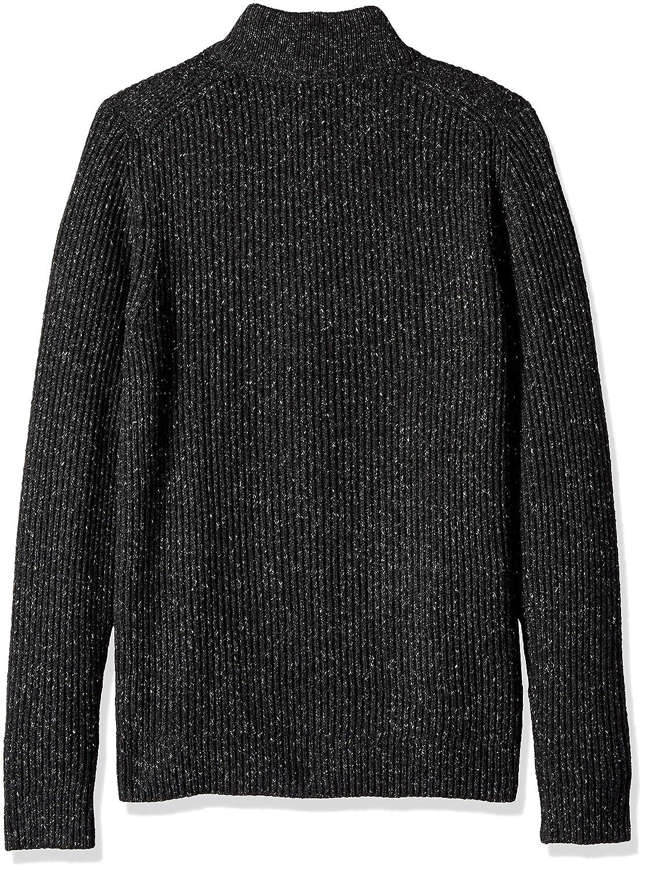 Van Heusen Mens Long Sleeve Texture Block Button Mock Neck Soft Sweater