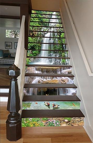 3d long waterfall nature 6544 stair risers decoration photo mural vinyl decal wallpaper murals wallpaper mural