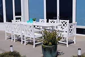 Vifah Bradley 9 Piece Extendable Patio Dining Set in White