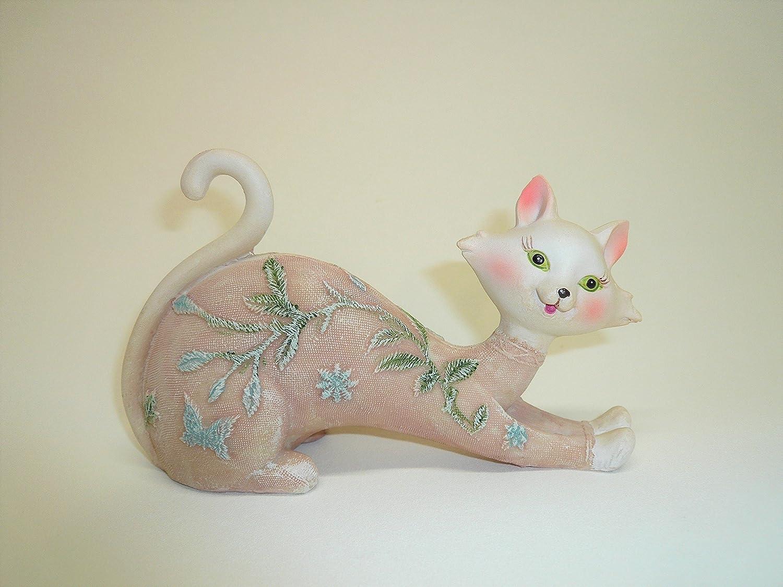 AVENUELAFAYETTE Statuette Figurine Chat d/éco Fleur et Papillon Rose 14,5 cm