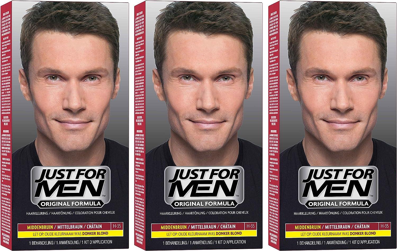 3 champús para el cuidado del tinte Just For Men de color marrón medio (66 ml cada uno).