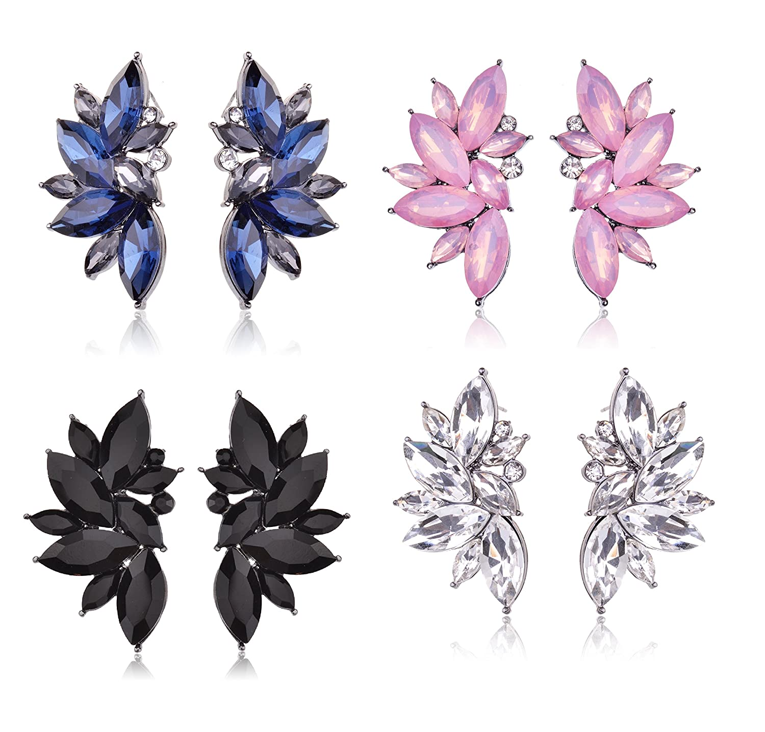 Cluster Crystal Teardrop Flower Design Stud Earrings Fine Jewelry for Women Valentines Day Gifts for Her Ginasy ER-10128-Black
