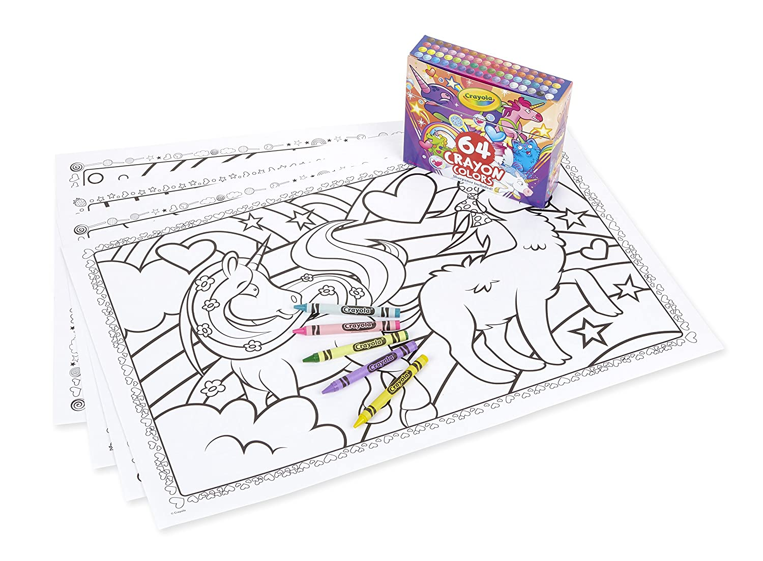 Amazon com crayola uni creatures coloring pages with custom crayon set 64 count unicorn gift for kids age 3 4 5 6 7 toys games