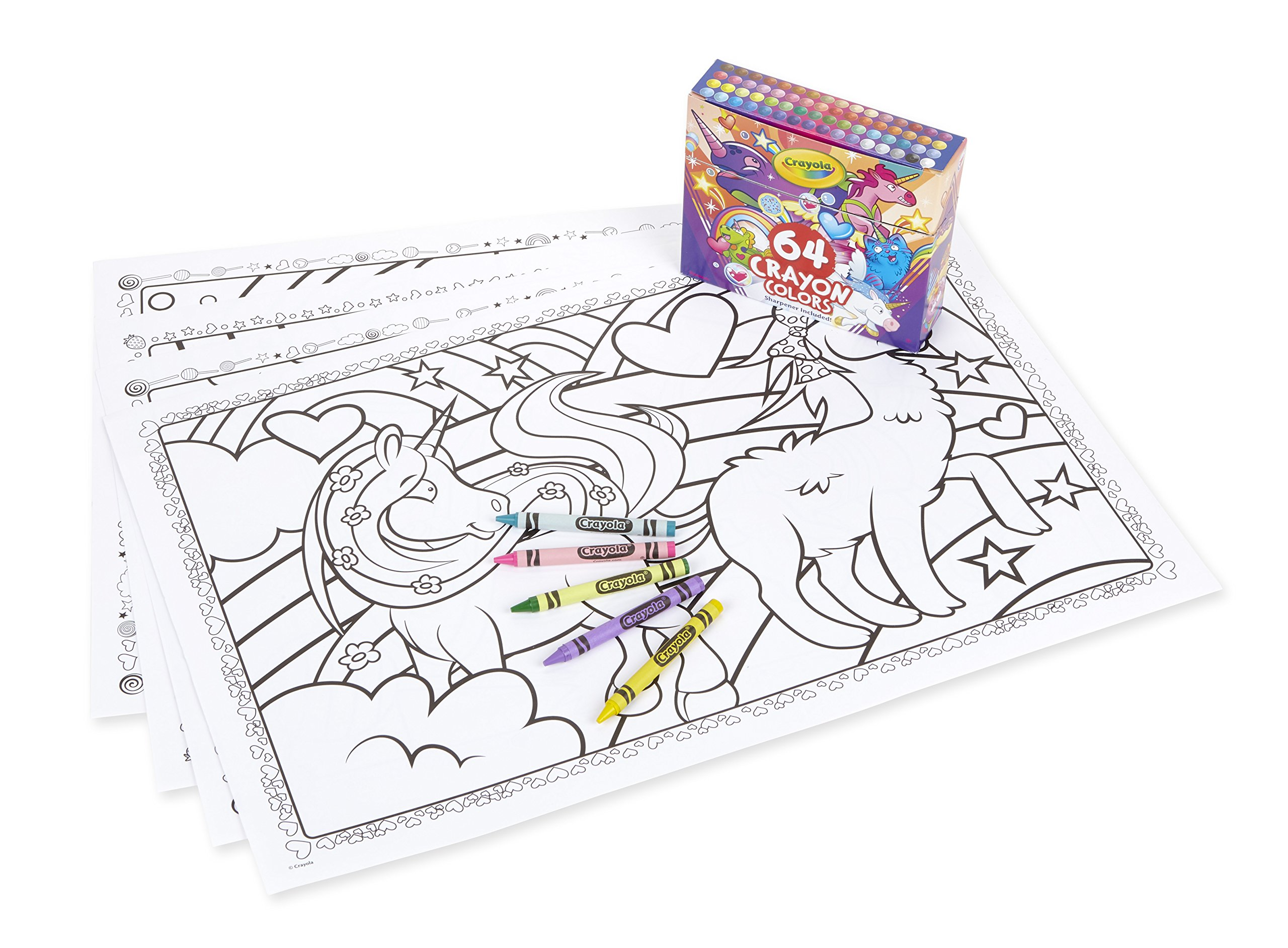 Crayola Uni-Creatures Coloring Pages with Custom Crayon Set, 64 Count, Unicorn Gift for Kids, Age 3, 4, 5, 6, 7 3