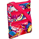 Womens Crossbody Swingpack Bag (Multicolor Butterfly W/ Pink Trim)