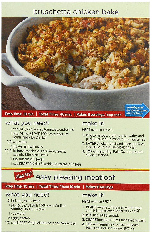 amazon com stove top stuffing mix chicken low sodium 6 oz boxes