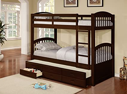 Kings Brand Furniture Wood Twin Size Bunk Bed Bunkbed With Trundle Storage Drawers Espresso