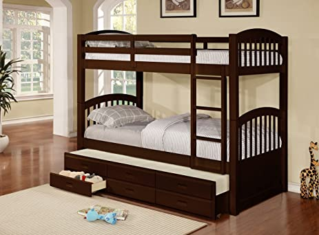 Amazoncom Wood Twin Size Bunk Bed Bunkbed With Trundle
