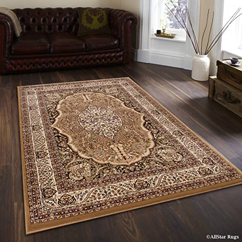 Allstar 7x10 Beige Traditional Rectangular Accent Rug with Ivory and Espresso Bordered Medallion Persian Design and Sage Green Highlight 6 6 x 9 3