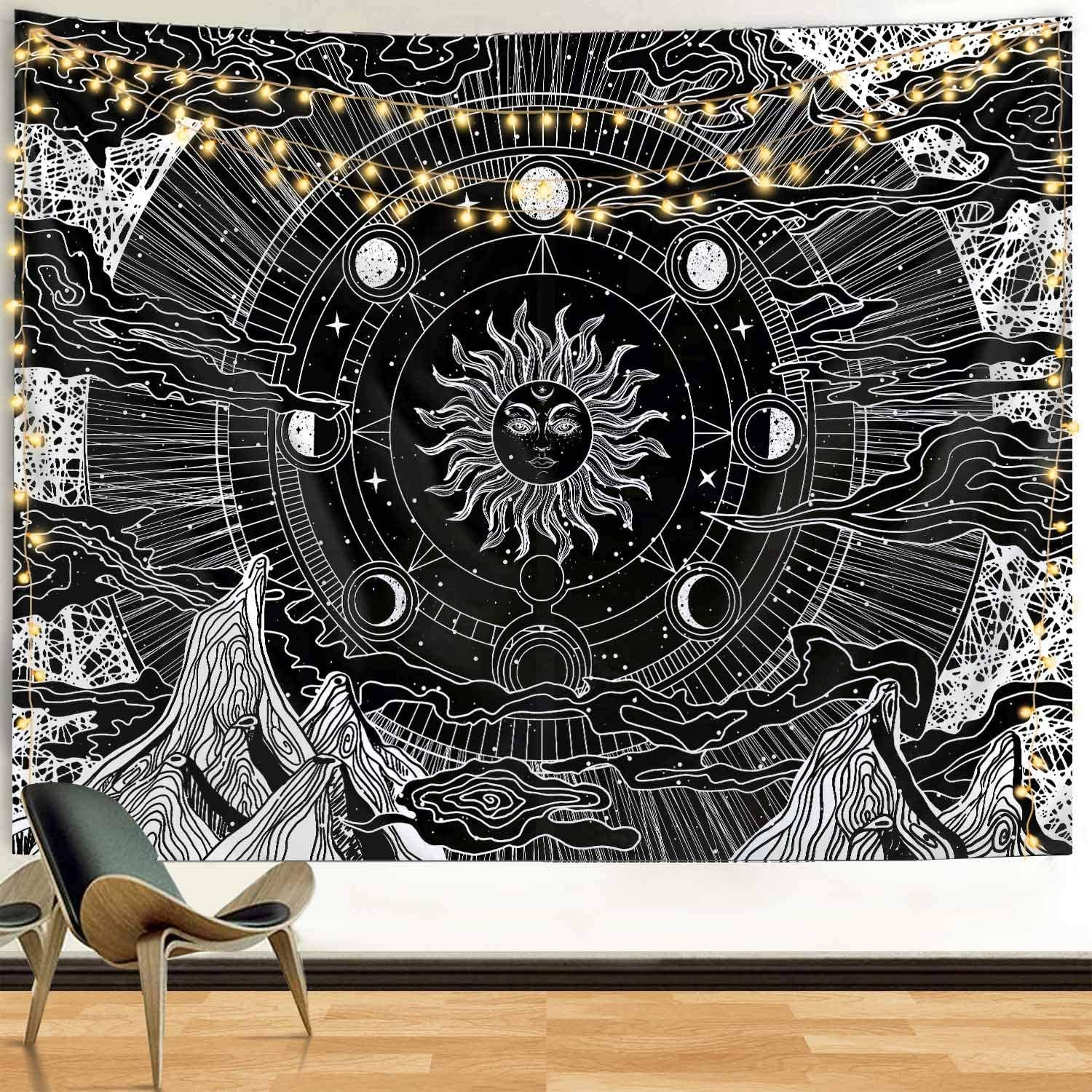 Funeon Black And White Tapestry Wall Hanging Extra Large Sun And Moon Tapestry For Teen Girl Boy Room Dorm College Tapestry Cute Sun With Stars Mountain Tapestries Indie Room Decor Aesthetic