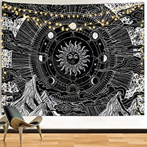 Funeon Black and White Tapestry Wall Hanging Sun and Moon Wall Tapestry for Bedroom Teen Girls Boys Indie Room Wall Decor Dorm College Tapestries for Men Women Cute Sun with Stars Aesthetic 59x59inch