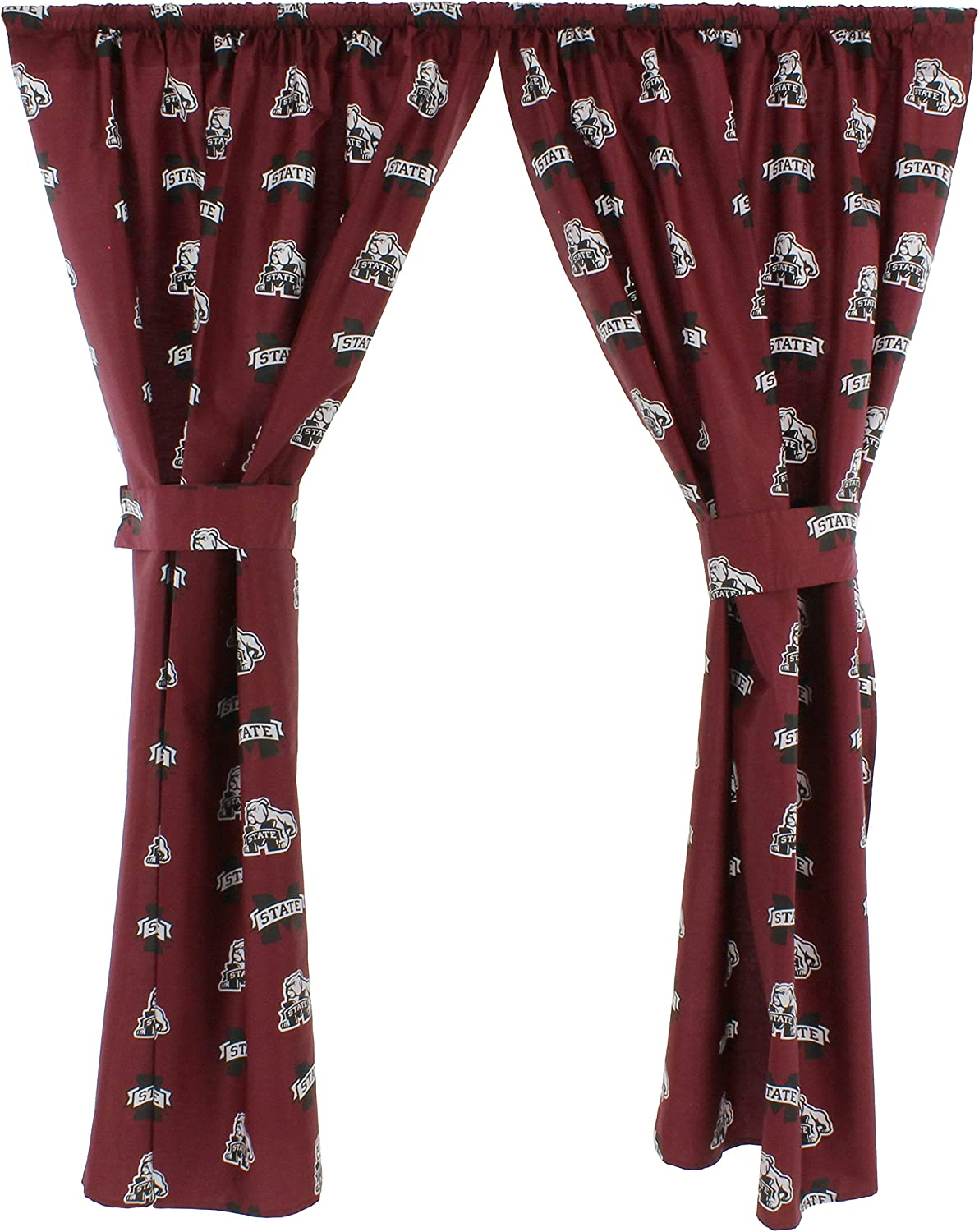 "College Covers Mississippi State Bulldogs 63"" Curtain Panels Set with Tiebacks, 42, Team Colors"