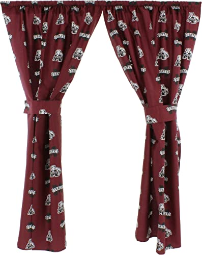 College Covers Mississippi State Bulldogs 63 Curtain Panels Set with Tiebacks, 42, Team Colors