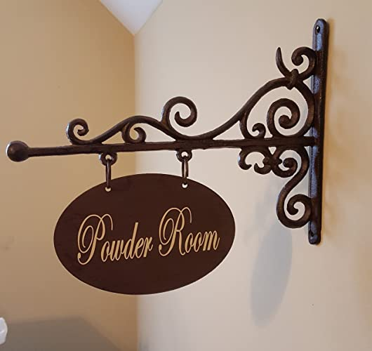 Oval Metal Plaque And Bracket   Room Sign/Door Sign/Powder Room/Bathroom