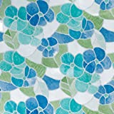 d-c-fix 346-0213 Lisboa - Lámina adhesiva para ventana (vinilo, 45cm x 2 m, efecto cristal satinado), diseño de flores, color azul