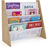 Humble Crew, Natural/White Kids Book Rack Storage Bookshelf with Deep Sleeves, Universal