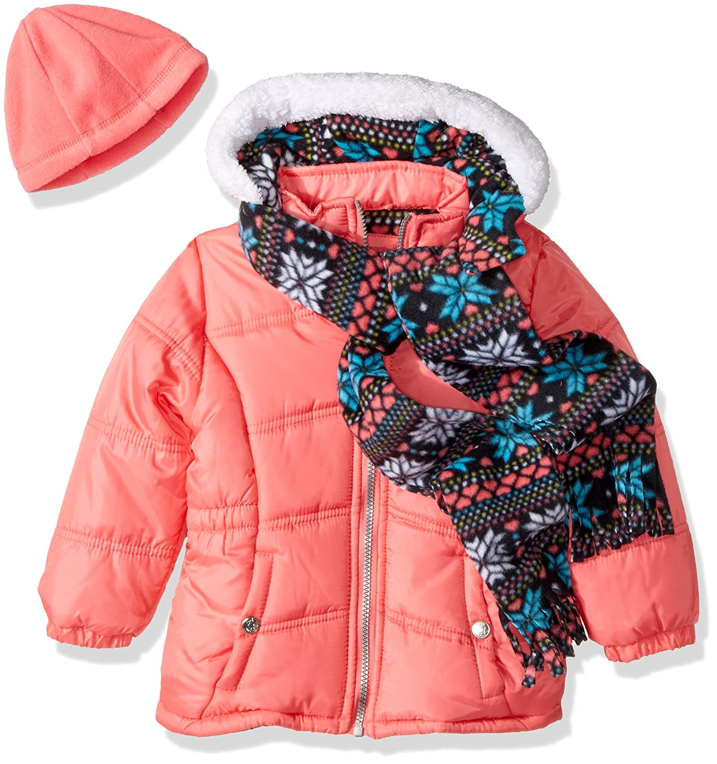 Pink Platinum Girls Snowflake Puffer with Hat and Scarf 94532
