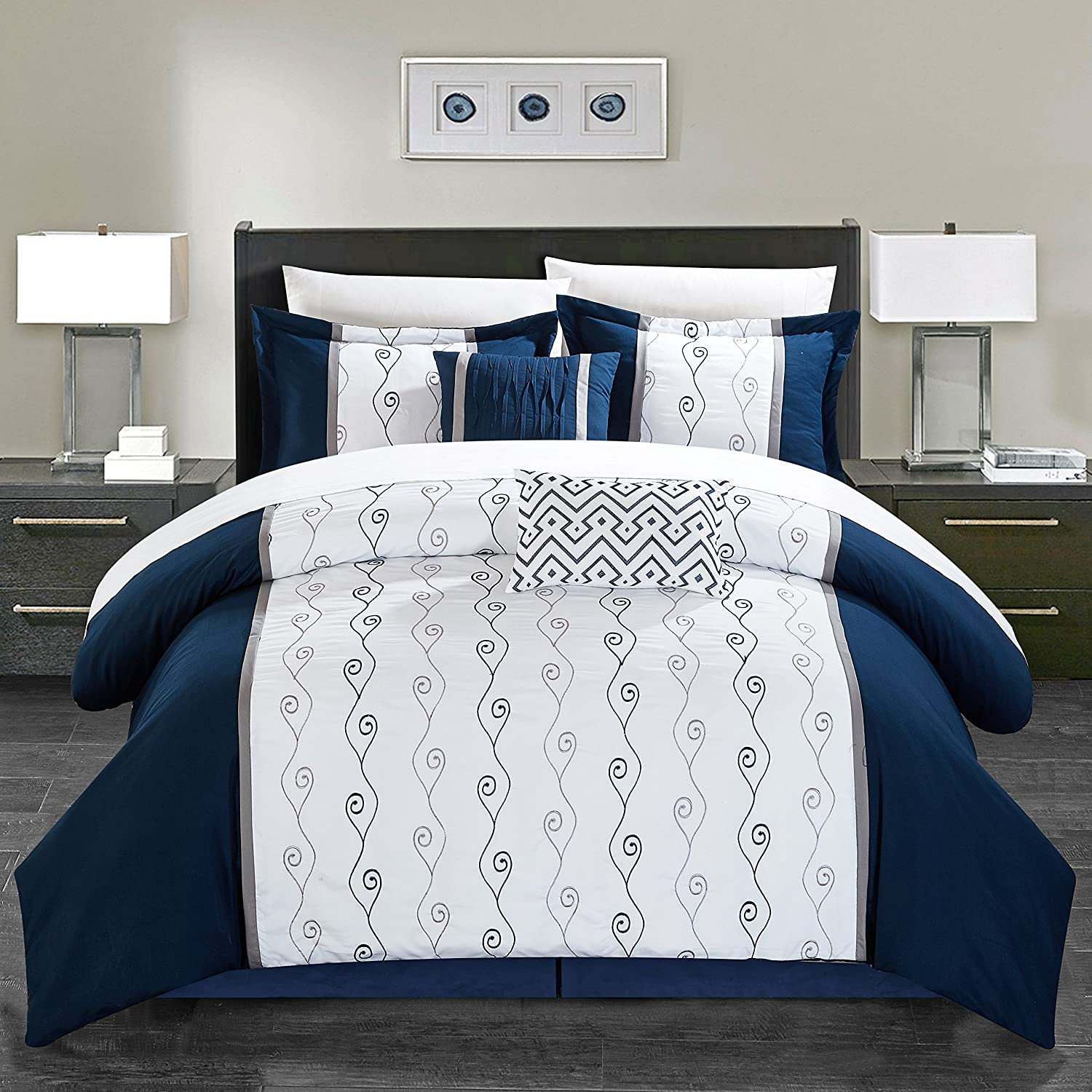 Chic Home Priston 6 Piece Comforter Set Color Block Embroidered Bedding - Bed Skirt Decorative Pillows Shams Included Queen Black CS8044-AN