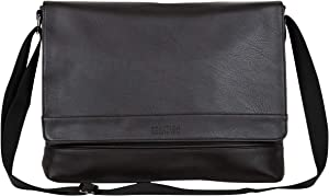 Kenneth Cole Reaction Grand Central Vegan Leather Laptop & Tablet Crossbody Travel Messenger Bag, Dark Brown, 15