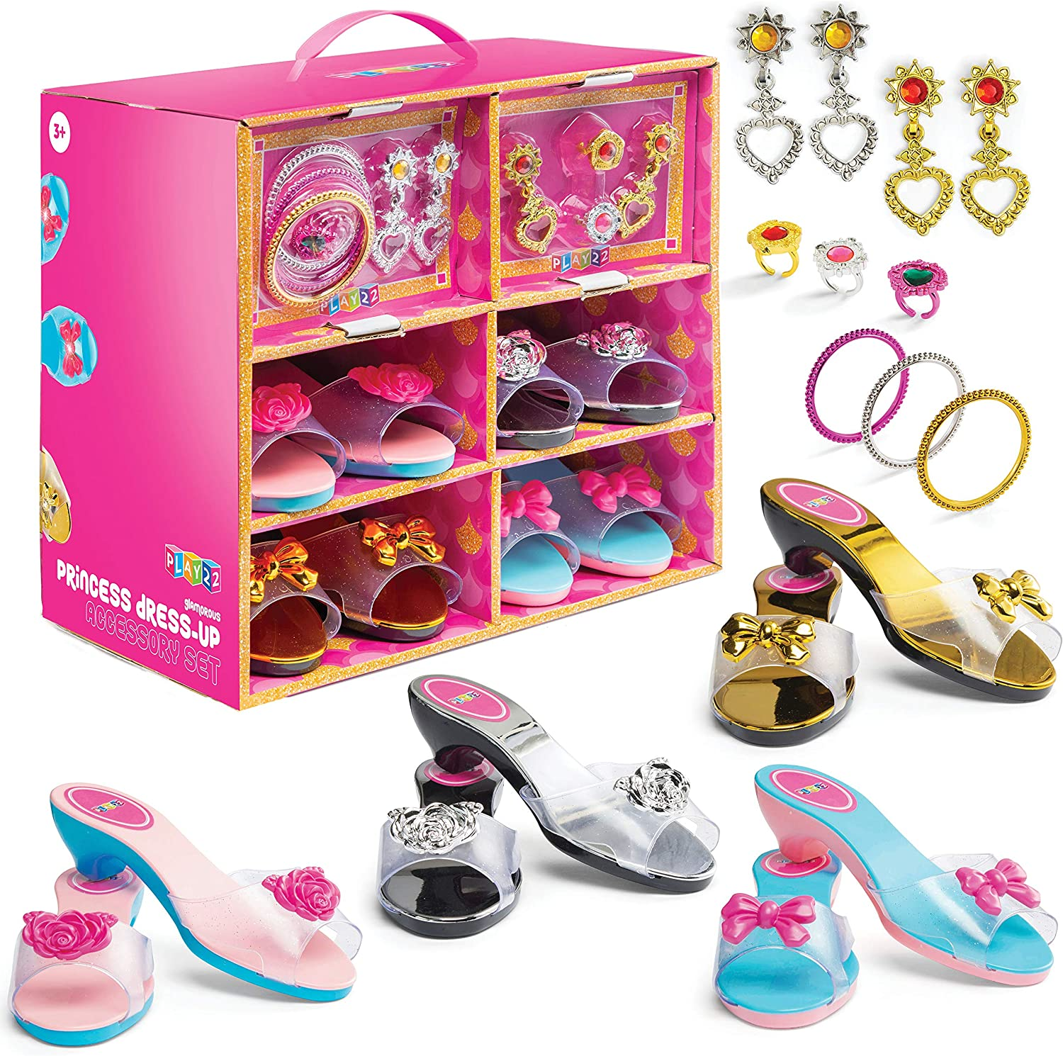 Play8 Princess Girls Dress Up Shoes And Jewelry Boutique 8 Set – 8 Pairs  Pretend Play Shoes For Little Girls, 8 Earrings, 8 Bracelets, 8 Rings -