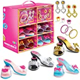 Play22 Princess Girls Dress Up Shoes And Jewelry Boutique 18 Set – 4 Pairs Pretend Play Shoes For Little Girls, 2…