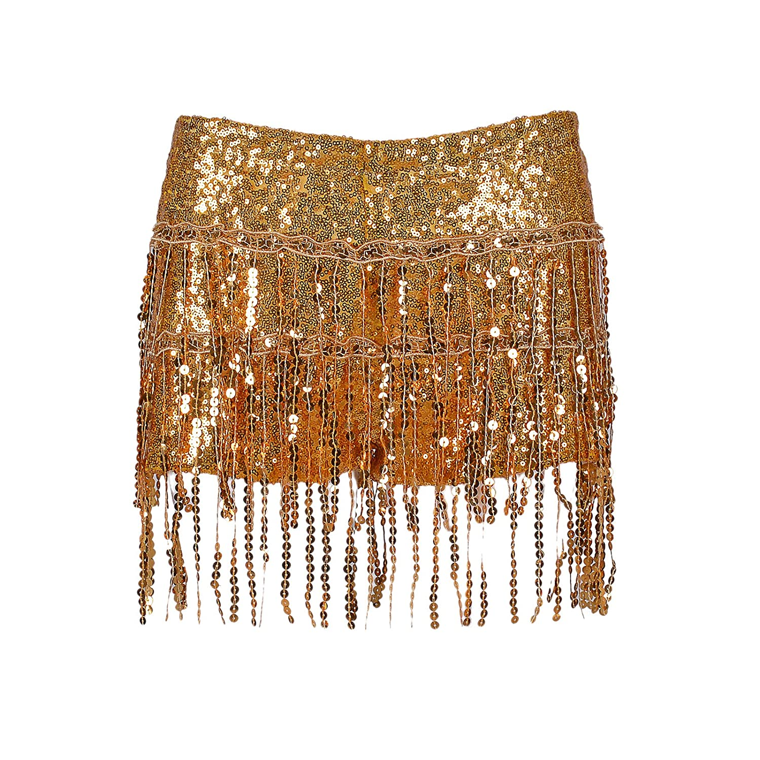 BFD One Ladies Girls Sequin Tassel Skirt (with Shorts Underneath). Sizes 6 8 10 and 12 Silver Gold Turquoise Hand Wash in Cold Water Ideal for Dance Performance Festival Summer Party