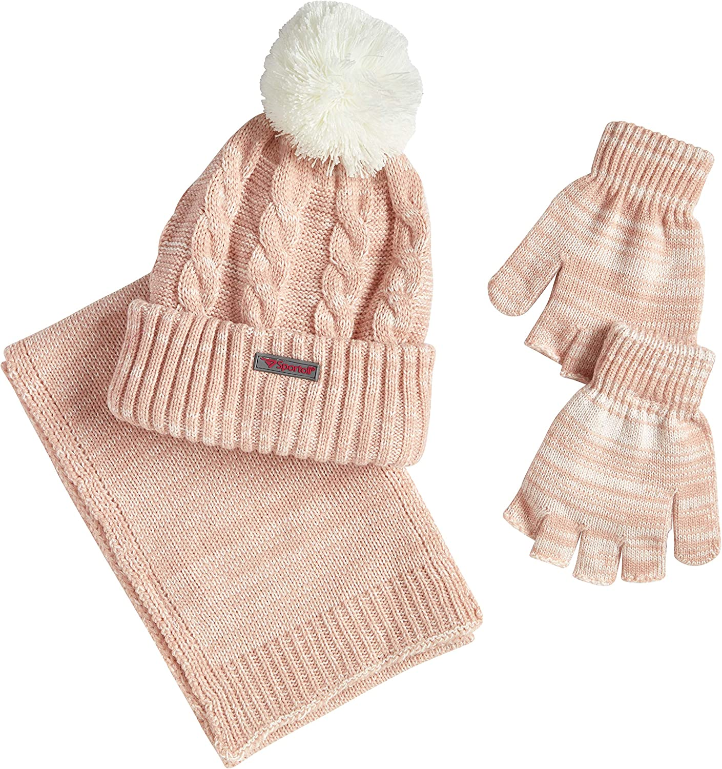 Sportoli Women/'s Girls/' kids 3-Piece Cable Knit Cold Weather Set Hat Scarf Glove