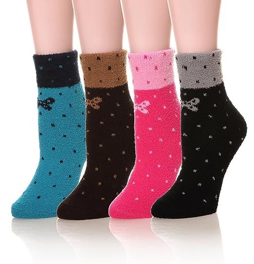 DoSmart Women's Super Soft Warm Cute Fuzzy Winter Crew Socks Christmas Gift (4Pair Bowknot)
