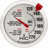 HIC Roasting Meat Poultry Ham Turkey Grill Thermometer, Oven Safe, Large 2-Inch Easy-Read Face, Stainless Steel Stem and Housing