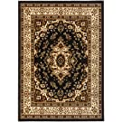 Antep Rugs Kashan King Collection Himalayas Oriental Polypropylene Indoor Area Rug (Black and Beige, 5' x 7')