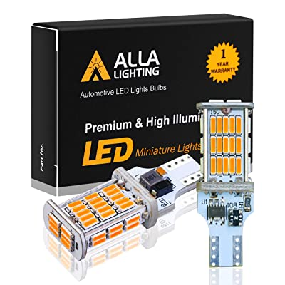 Alla Lighting 921 LED Reverse Light Bulb CAN-BUS Xtreme Super Bright 4014 48-SMD RV Car 912 W16W T15 Backup Brake Stop Cargo Lights, Amber Yellow: Automotive