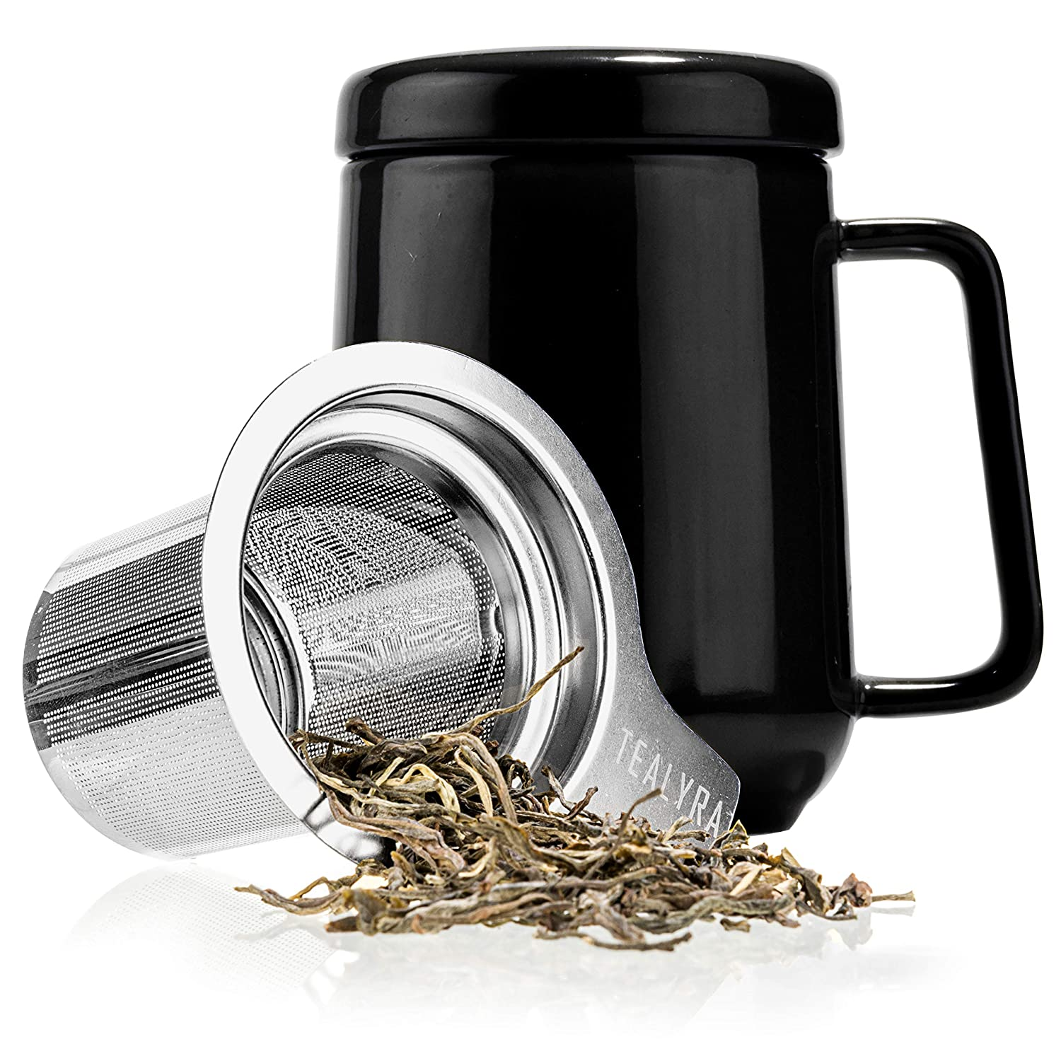 Tealyra - Peak Ceramic Black Tea Cup Infuser - 19-ounce - Large Tea High-Fired Ceramic Mug with Lid and Stainless Steel Infuser - Tea-For-One Perfect Set for Office and Home Uses - 580 milliliter SYNCHKG100022