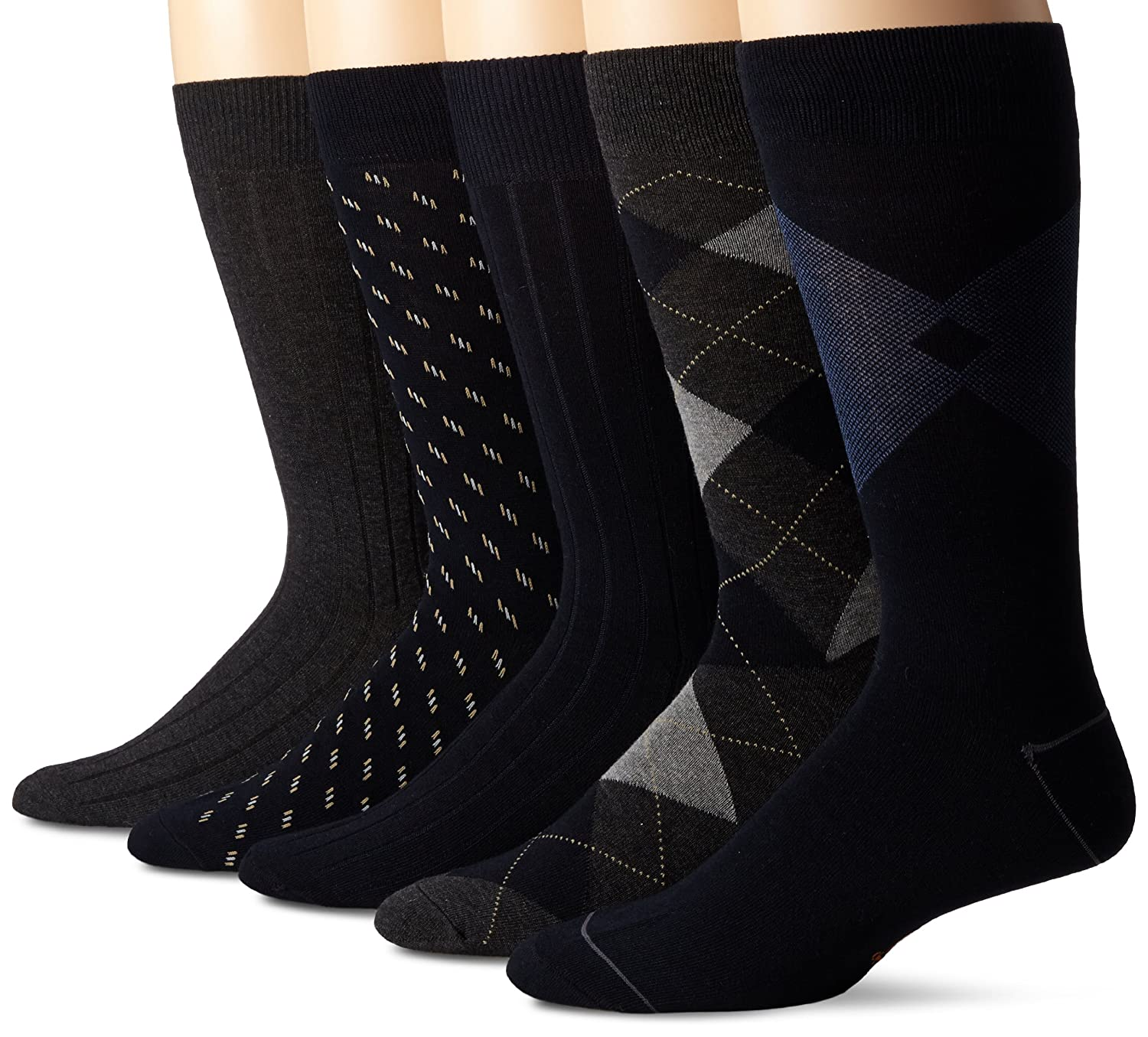 Dockers Men's Classics Dress Argyle Crew Socks, (Pack of 5) Black Royce Too D51007