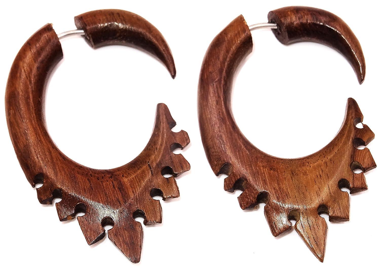 Made in Zen - Falso dilatador de oreja de madera, diseño en espiral, color marrón: Amazon.es: Joyería