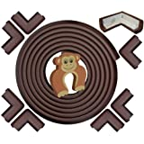 Edge & Corner Guard Set - EXTRA LONG 22.0ft Coverage Incl 8 PRE-TAPED Corners   COFFEE Brown   Sharp Edges Furniture Protectors, Corner Cushion Protection - Door Slammer Stopper Included