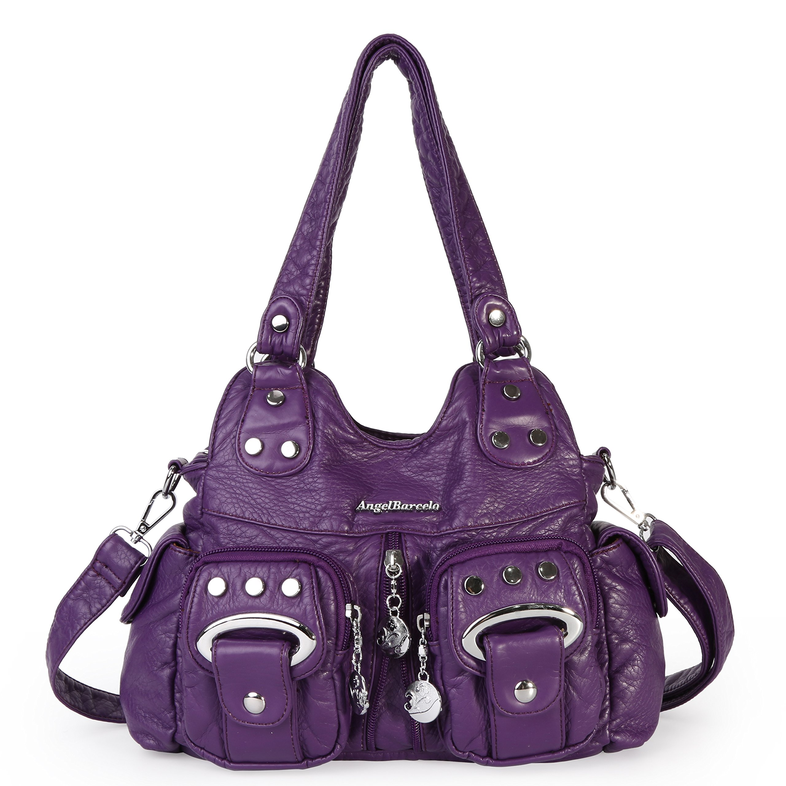 Angel Barcelo 3 Top Zippers Multi Pockets Purses and Handbags Leather Shoulder Bags Backpack Women (Purple)