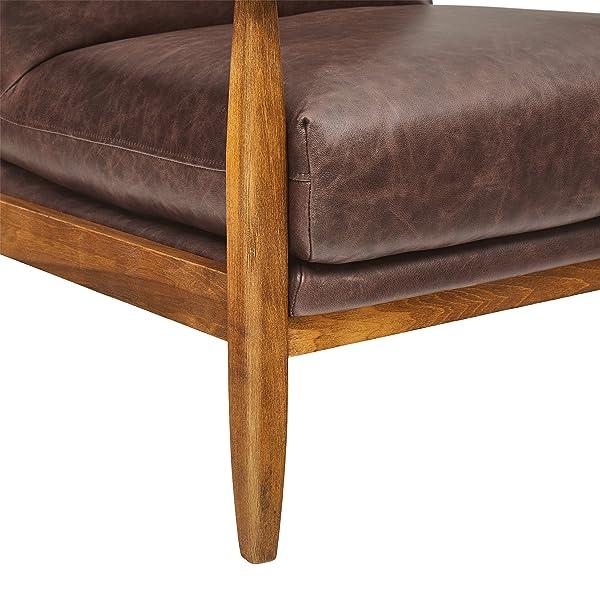 "Stone & Beam Alderman Mid-Century Modern Leather Accent Chair, 30""W, Dark Brown Leather"