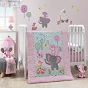Bedtime Originals Twinkle Toes Jungle Elephant 3 Piece Bedding Set, Pink/White