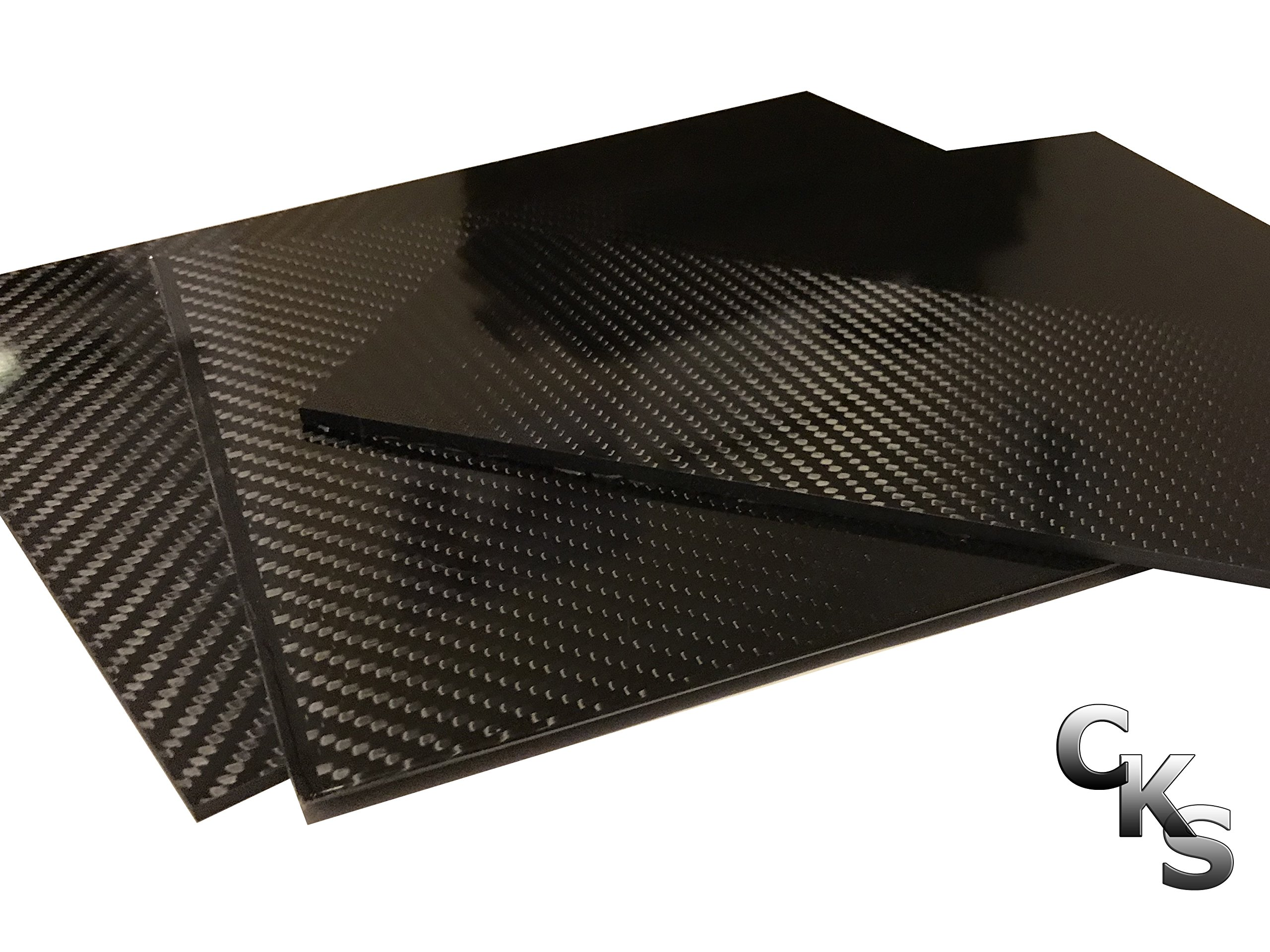 (1) Carbon Fiber Plate - 400mm x 500mm x 2mm Thick - 100% -3K Tow, Plain Weave -High Gloss Surface by Carbon Kevlar Supply